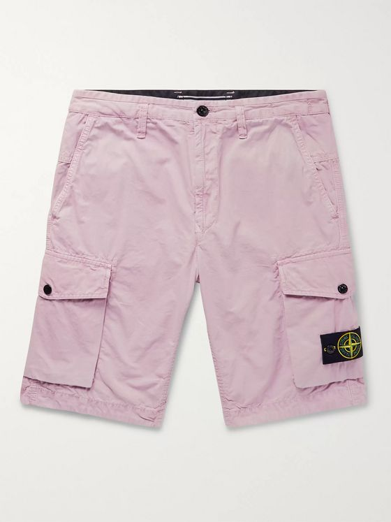 Stone Island Slim-Fit Garment-Dyed Brushed Cotton-Canvas Cargo Shorts
