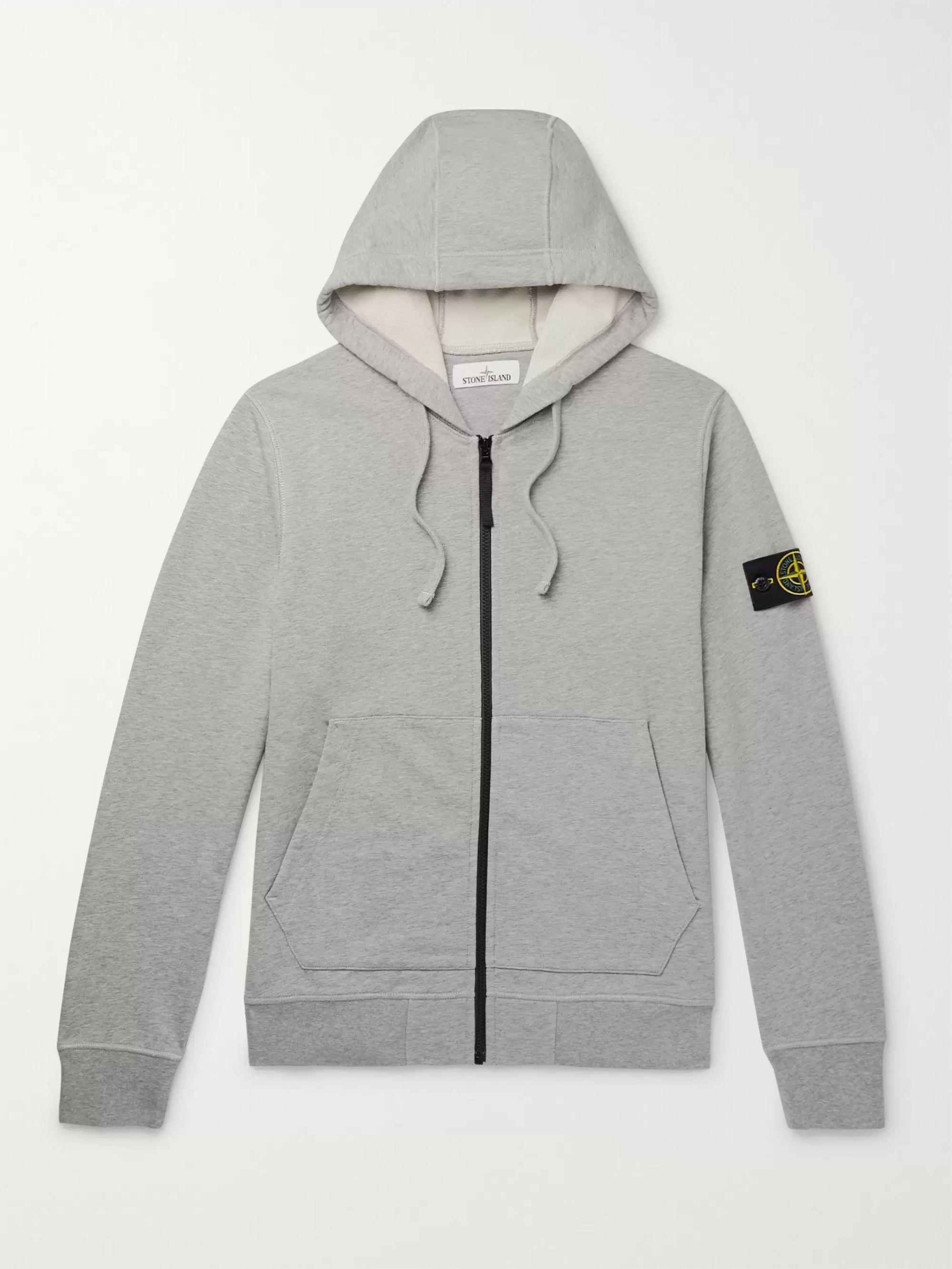 스톤 아일랜드 Stone Island Gray Garment-Dyed Loopback Melange Cotton-Jersey Zip-Up Hoodie,Gray