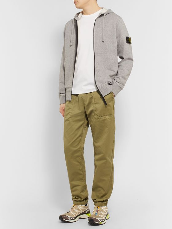 Stone Island Garment-Dyed Loopback Mélange Cotton-Jersey Zip-Up Hoodie