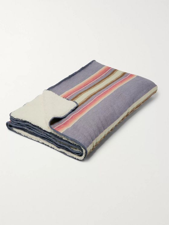 Faherty Striped Fleece-Back Organic Cotton-Jacquard Blanket