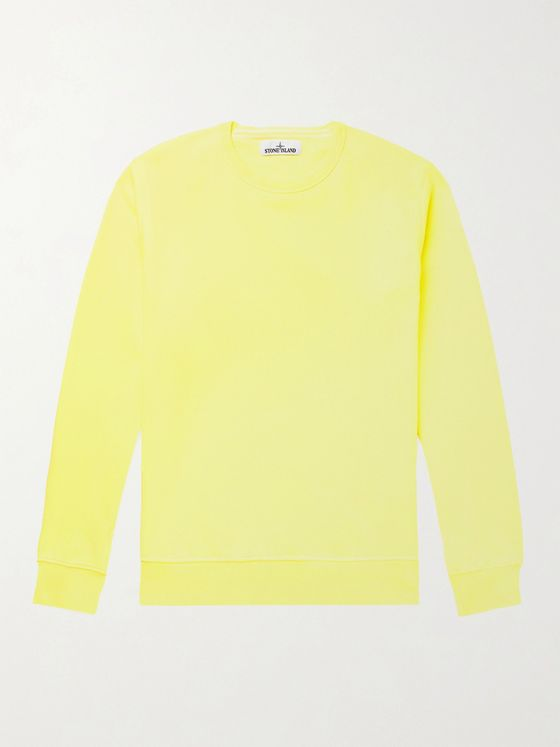 Stone Island Slim-Fit Logo-Embroidered Garment-Dyed Loopback Cotton-Jersey Sweatshirt