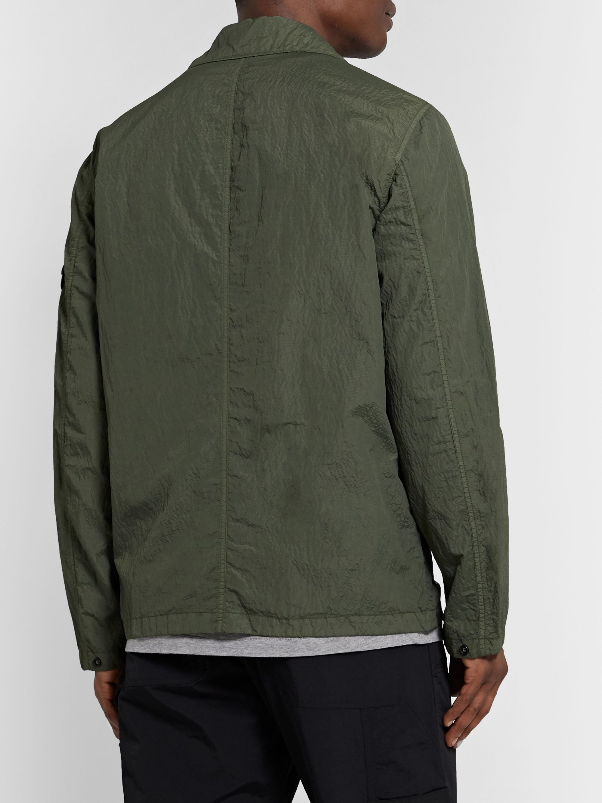 Stone Island Garment-Dyed Webbing-Trimmed Nylon-Blend Seersucker Shirt Jacket