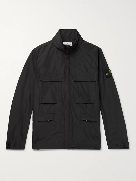 Stone Island Logo-Appliquéd Micro Reps Shell Hooded Jacket