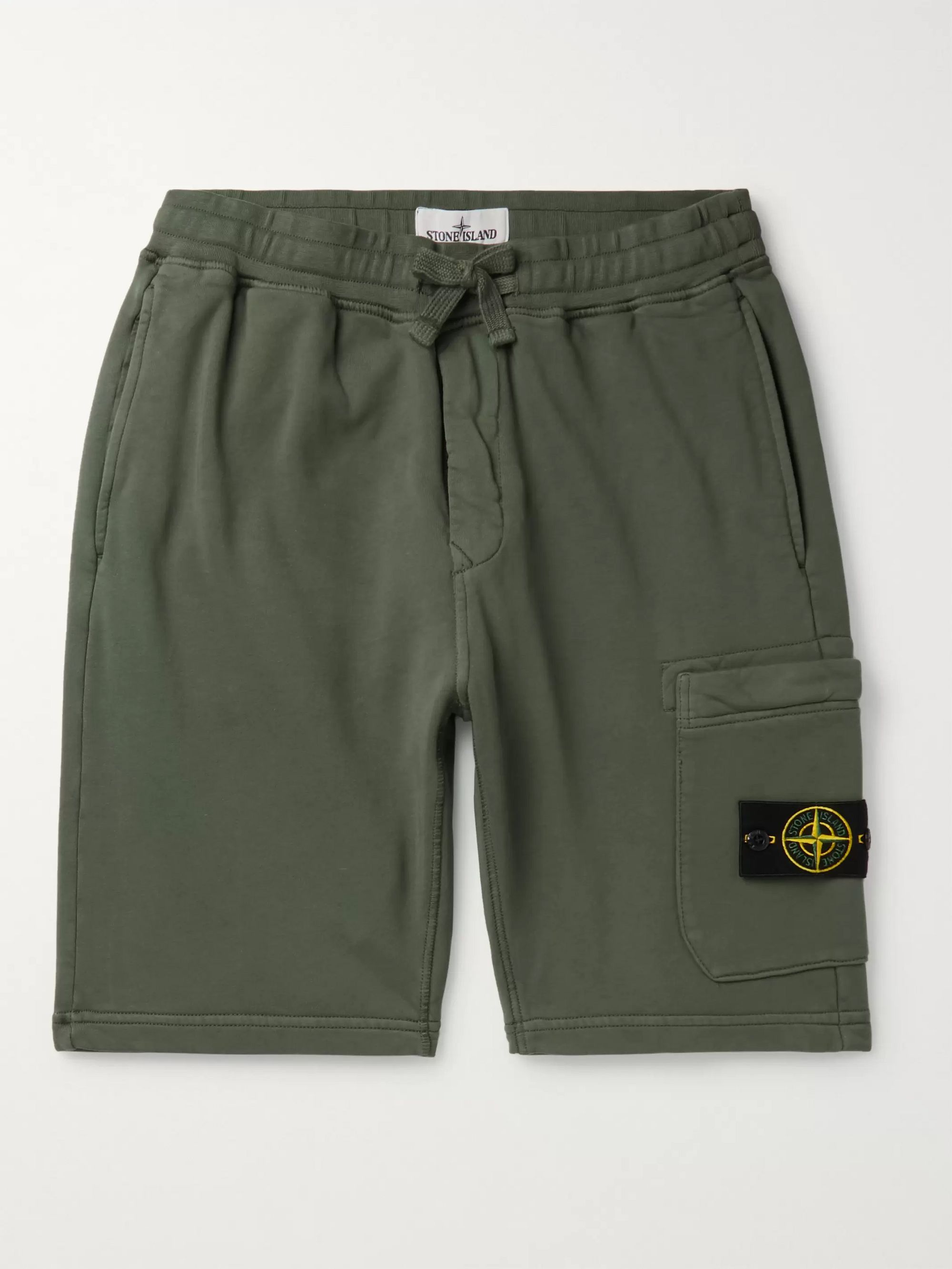 Stone Island Slim-Fit Logo-Appliquéd Garment-Dyed Loopback Cotton-Jersey Shorts
