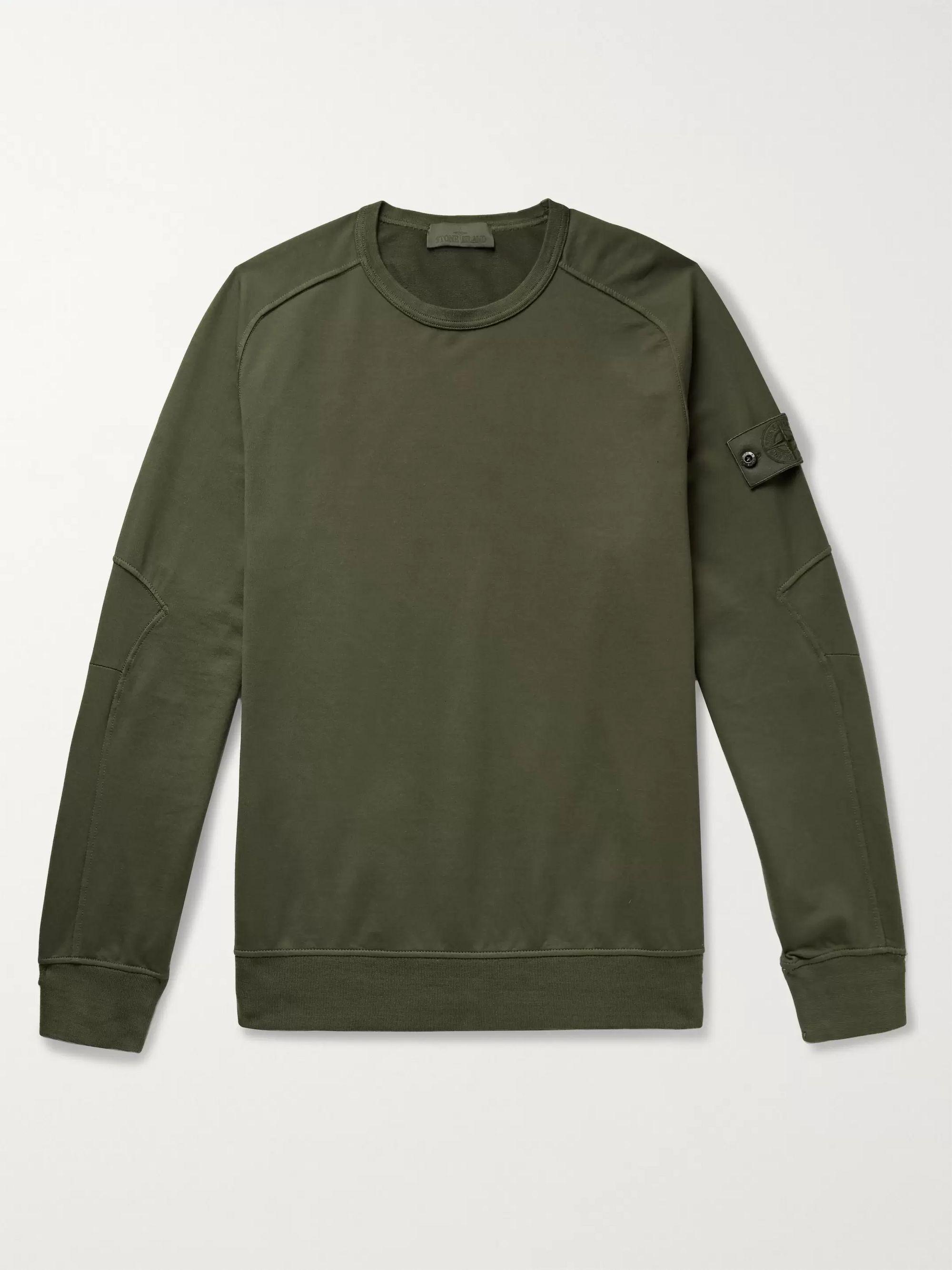 스톤 아일랜드 Stone Island Dark green Ghost Loopback Stretch-Cotton Jersey Sweatshirt,Dark green