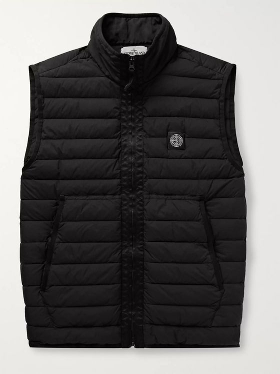 Stone Island Logo-Appliquéd Garment-Dyed Quilted Shell Down Gilet
