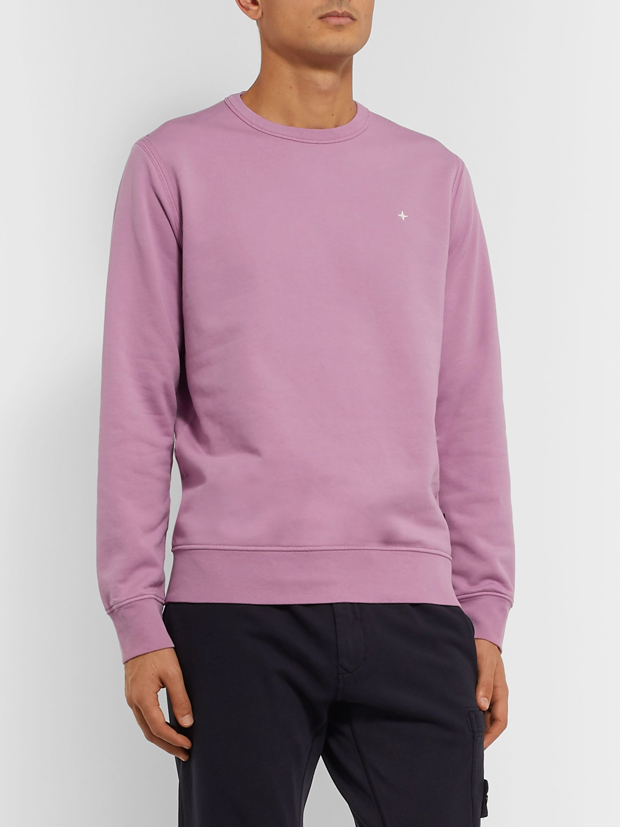 Stone Island Logo-Embroidered Garment-Dyed Loopback Cotton-Jersey Sweatshirt