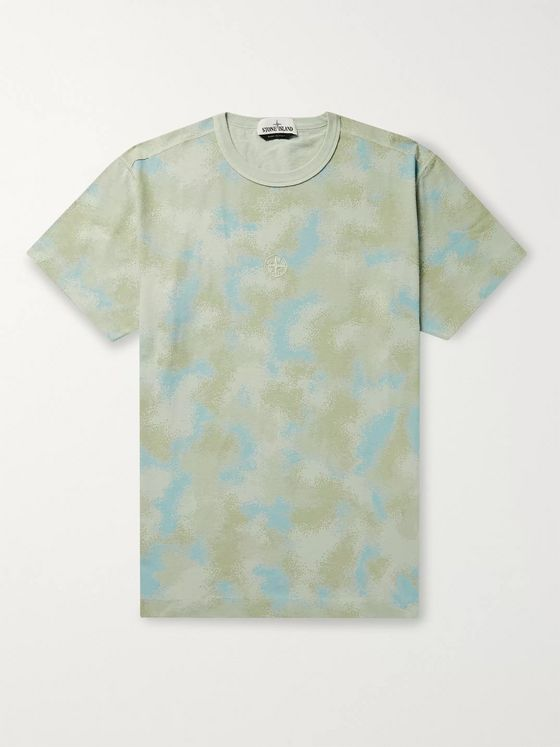 Stone Island Logo-Embroidered Camouflage-Print Cotton-Jersey T-Shirt