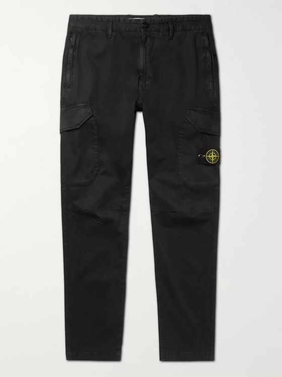 Stone Island Slim-Fit Logo-Appliquéd Garment-Dyed Cotton-Blend Cargo Trousers