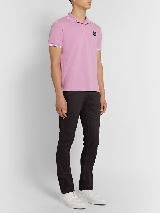 Stone Island Logo-Appliquéd Contrast-Tipped Stretch-Cotton Piqué Polo Shirt