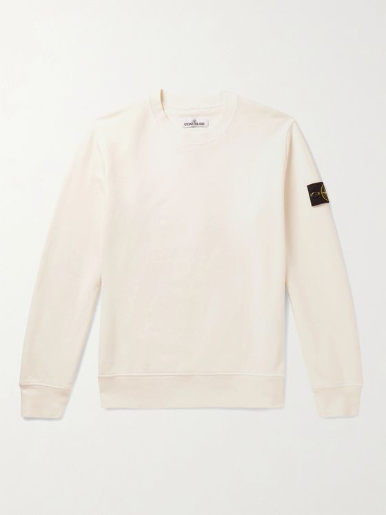 Stone Island Logo-Appliquéd Garment-Dyed Fleece-Back Cotton-Jersey Sweatshirt
