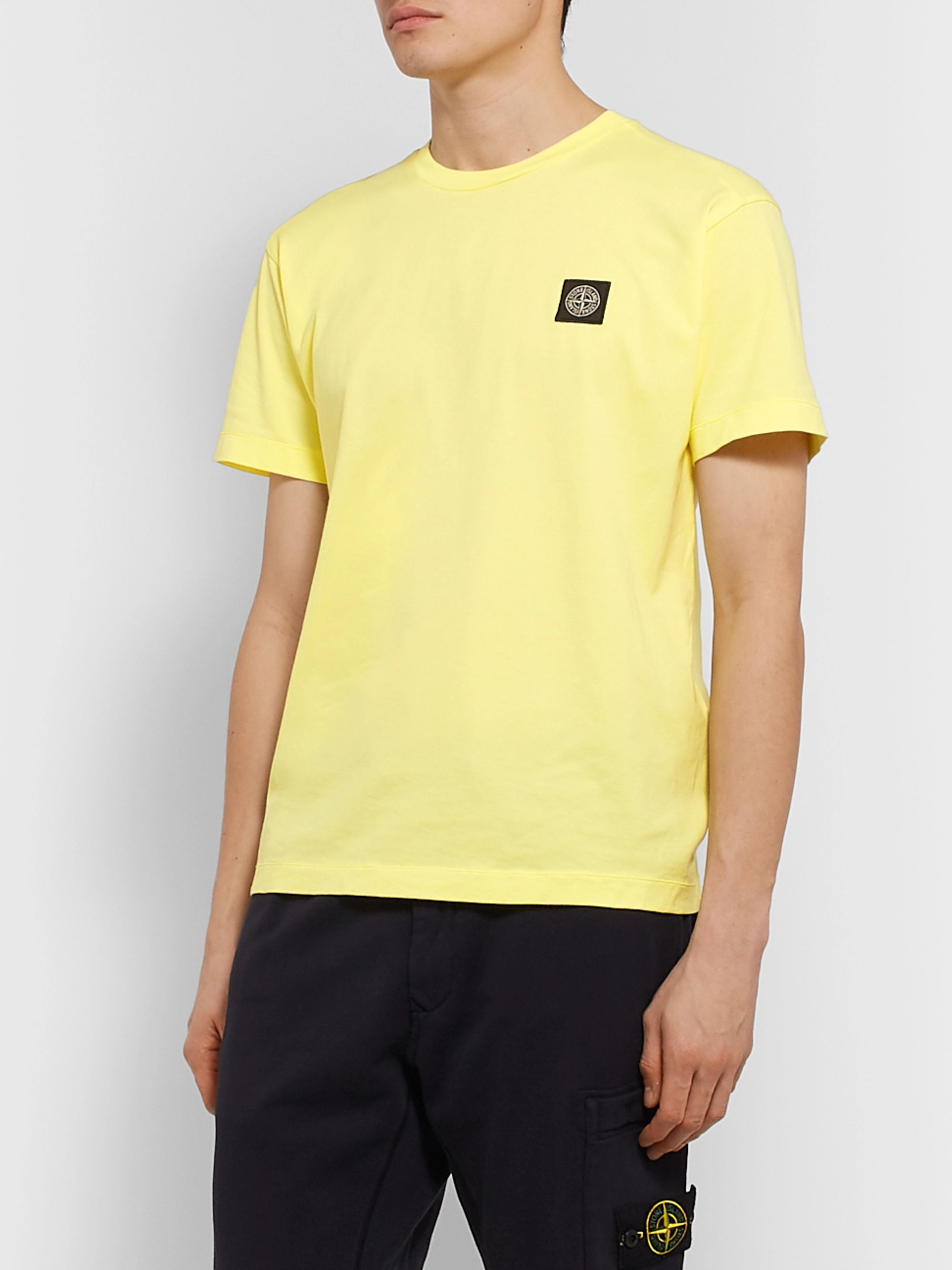 Stone Island Logo-Appliquéd Garment-Dyed Cotton-Jersey T-Shirt