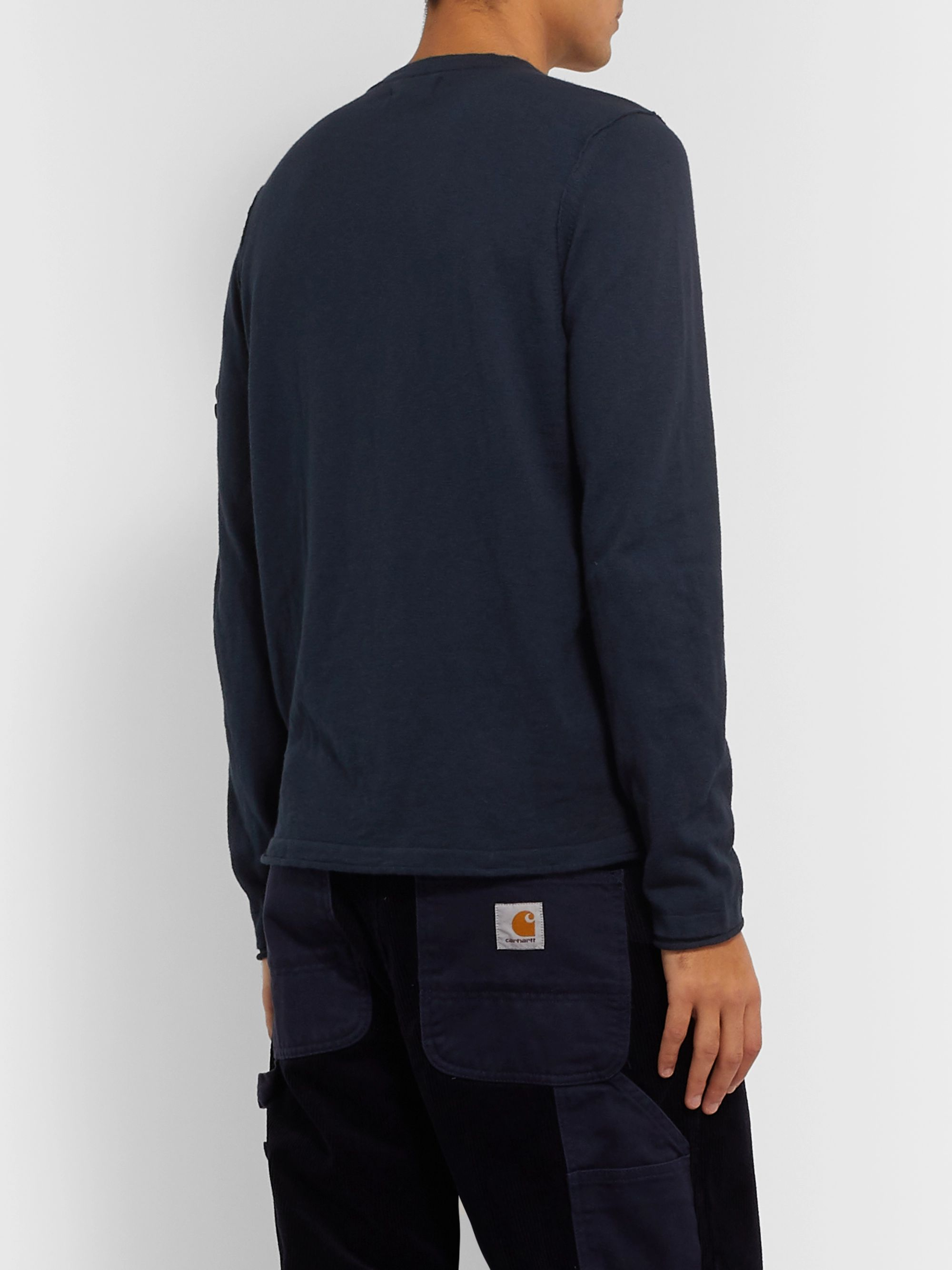 Stone Island Slim-Fit Logo-Appliquéd Garment-Dyed Cotton-Blend Sweater