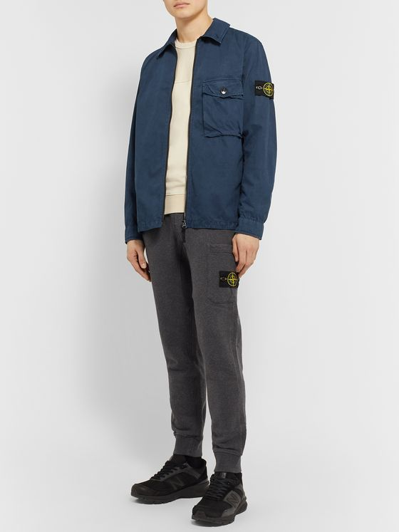 Stone Island Logo-Appliquéd Garment-Dyed Brushed-Cotton Jacket