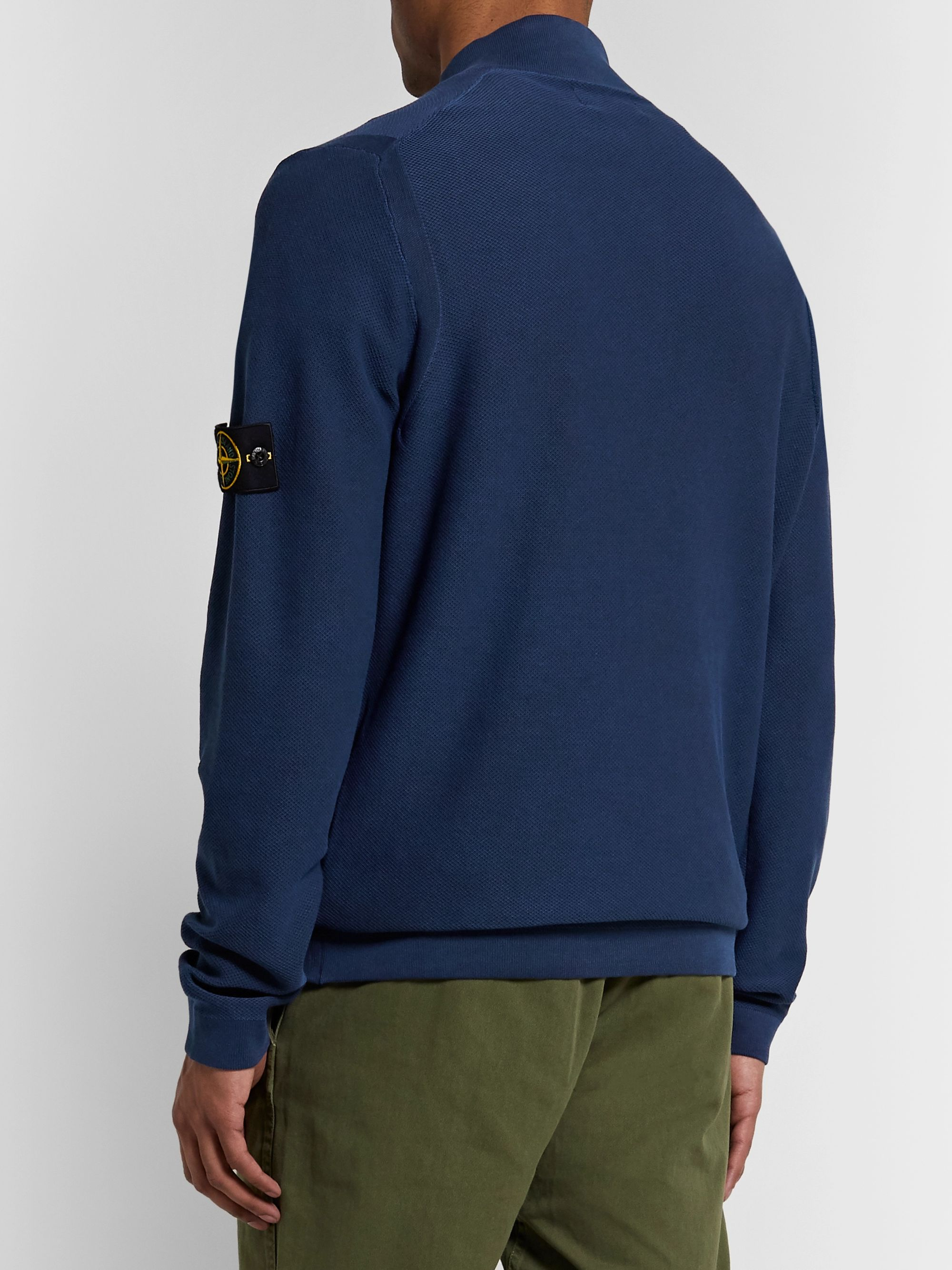 Stone Island Logo-Appliquéd Cotton-Piqué Half-Zip Sweater