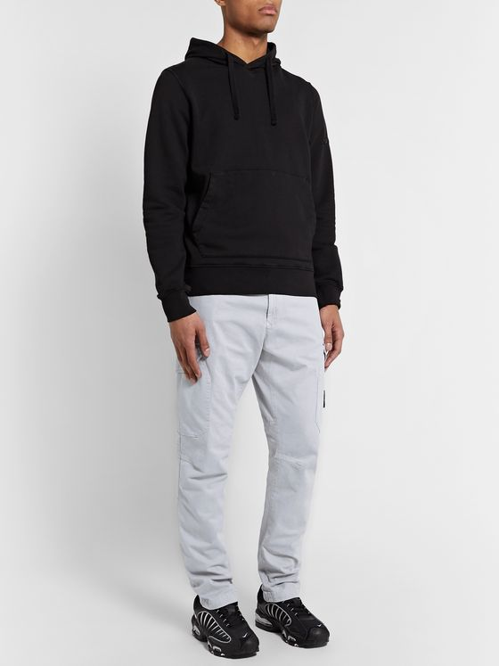 Stone Island Tapered Logo-Appliquéd Garment-Dyed Stretch-Cotton Twill Cargo Trousers