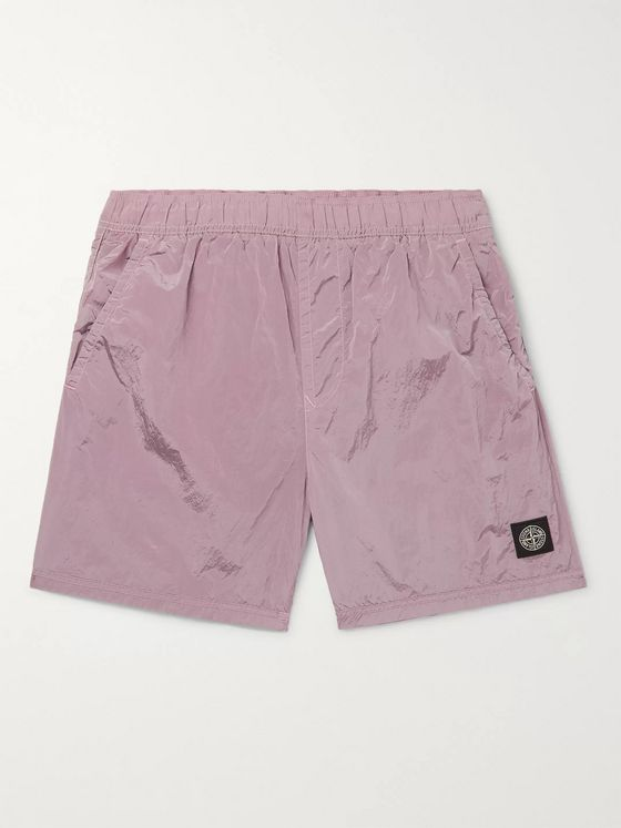 Stone Island Slim-Fit Mid-Length Garment-Dyed Swim Shorts