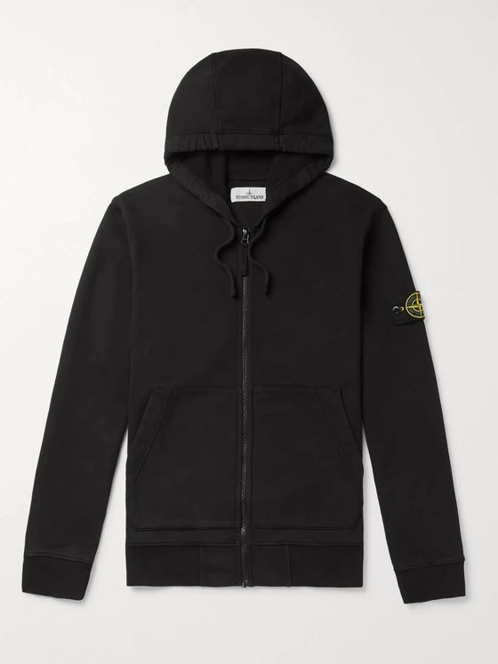 Stone Island Garment-Dyed Logo-Appliquéd Loopback Cotton-Jersey Zip-Up Hoodie