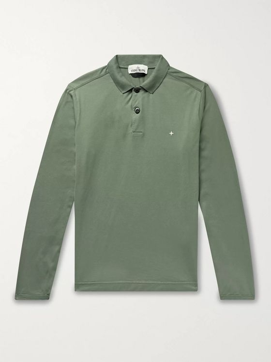 Stone Island Garment-Dyed Cotton-Jersey Polo Shirt