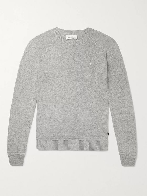Stone Island Logo-Embroidered Mélange Knitted Sweater