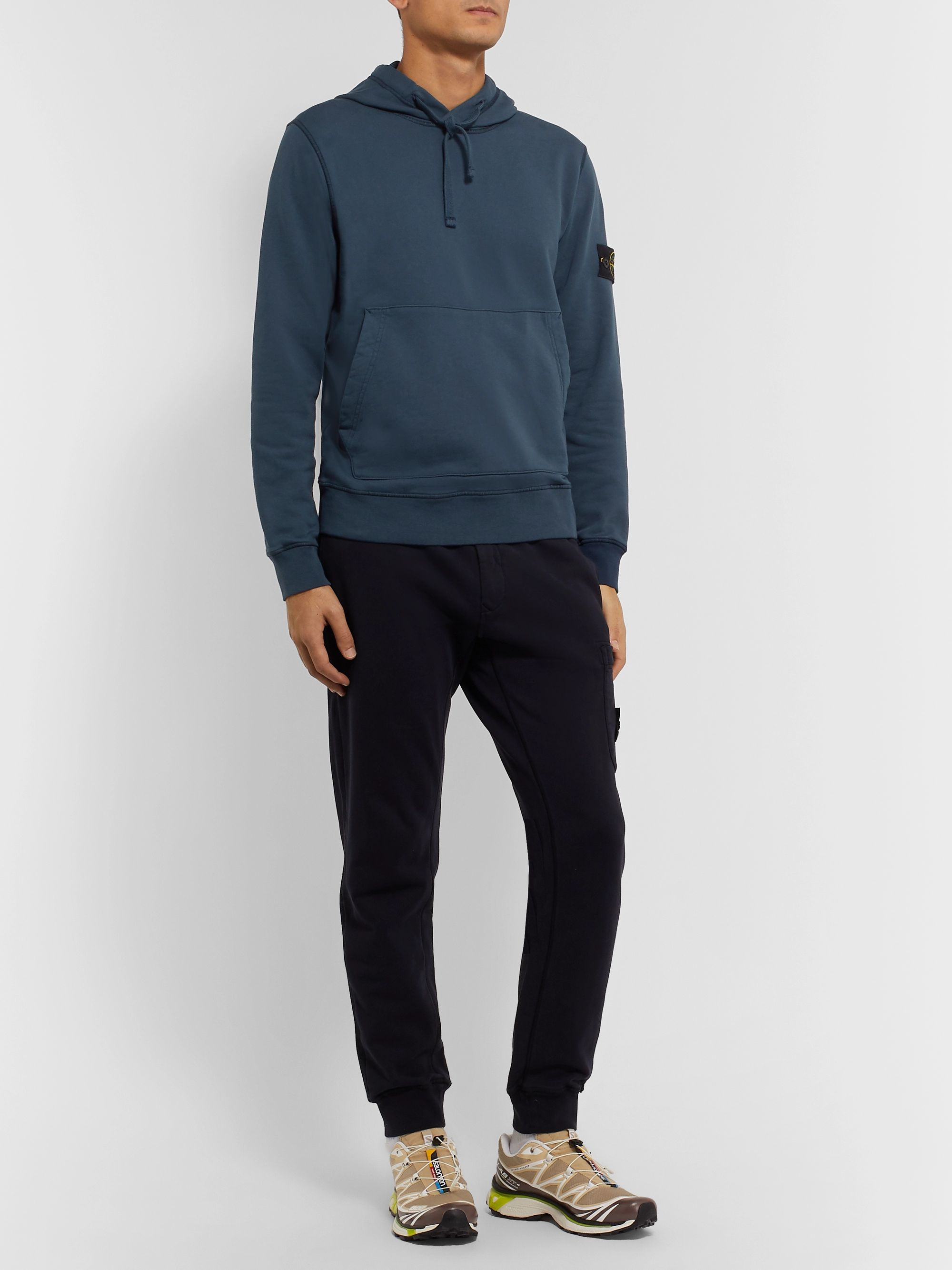 Stone Island Slim-Fit Logo-Appliquéd Garment-Dyed Loopback Cotton-Jersey Hoodie