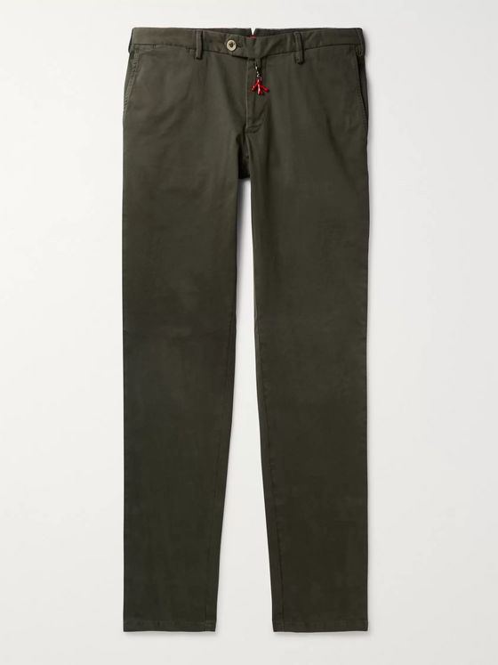Isaia Navy Slim-Fit Cotton-Blend Gabardine Chinos