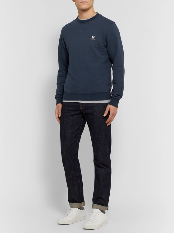 Belstaff Logo-Embroidered Loopback Cotton-Jersey Sweatshirt