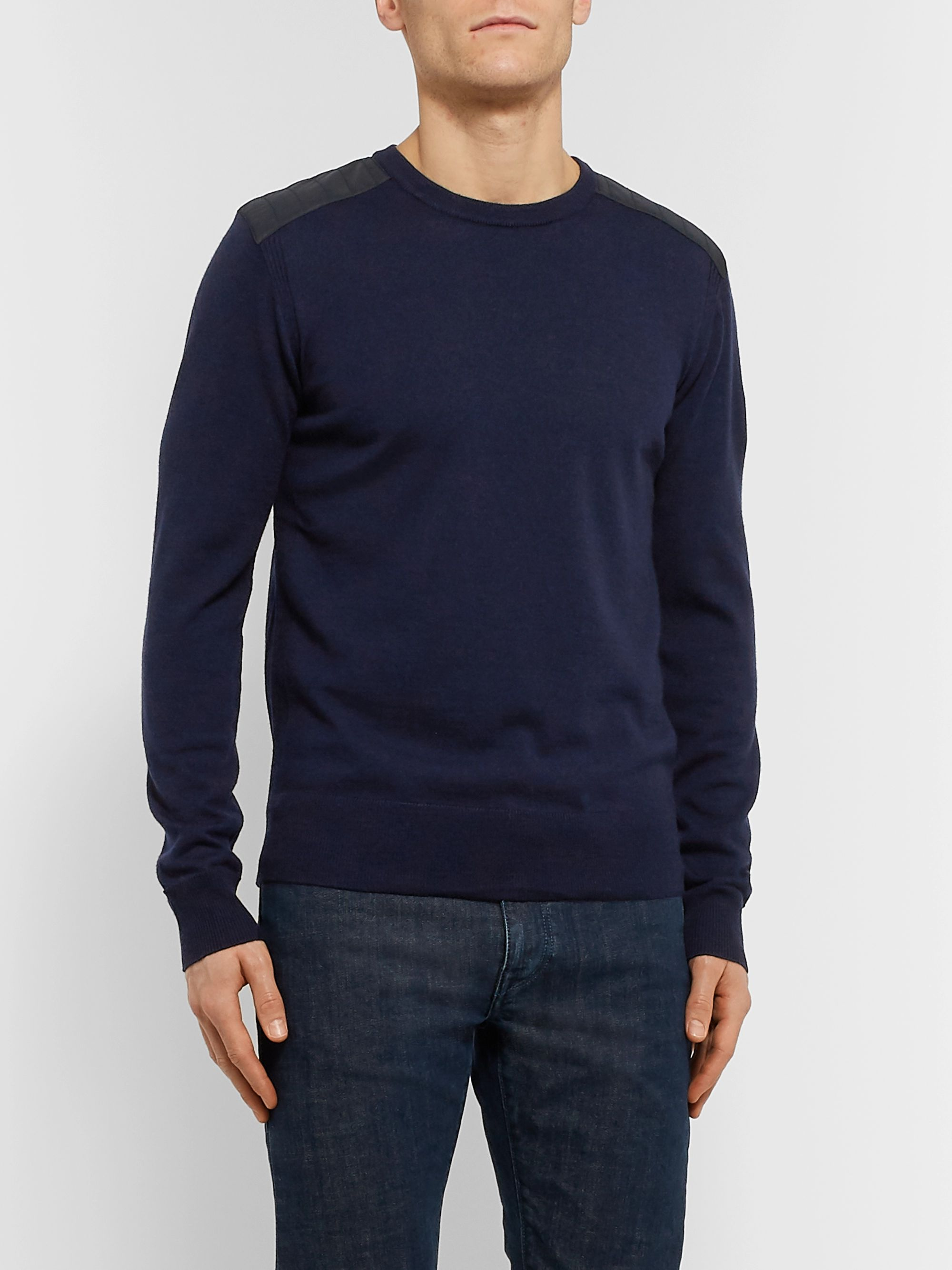 Belstaff Kerrigan Slim-Fit Quilted Shell-Trimmed Virgin Wool Sweater