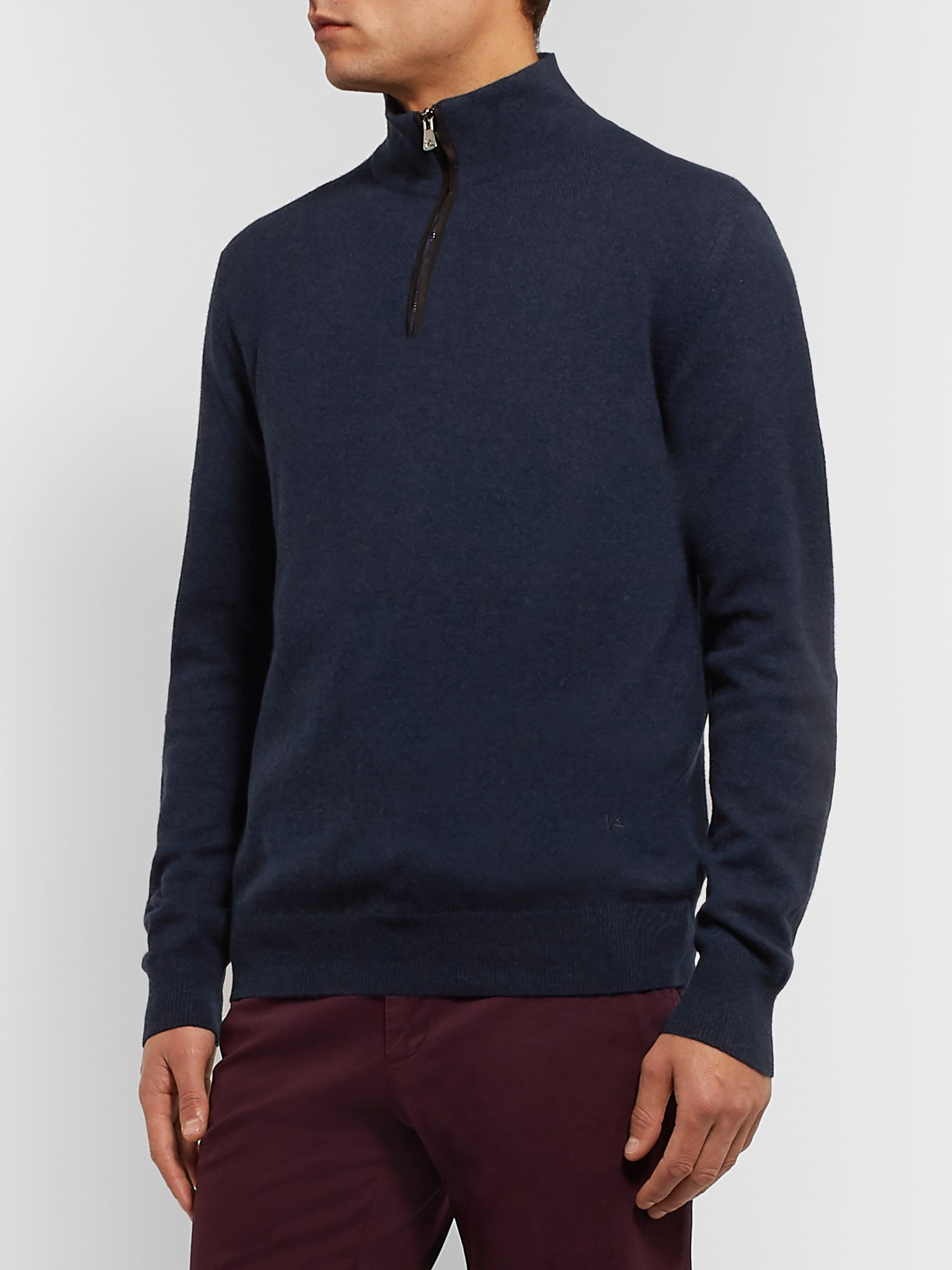 Isaia Slim-Fit Suede Elbow-Patch Cashmere Half-Zip Sweater