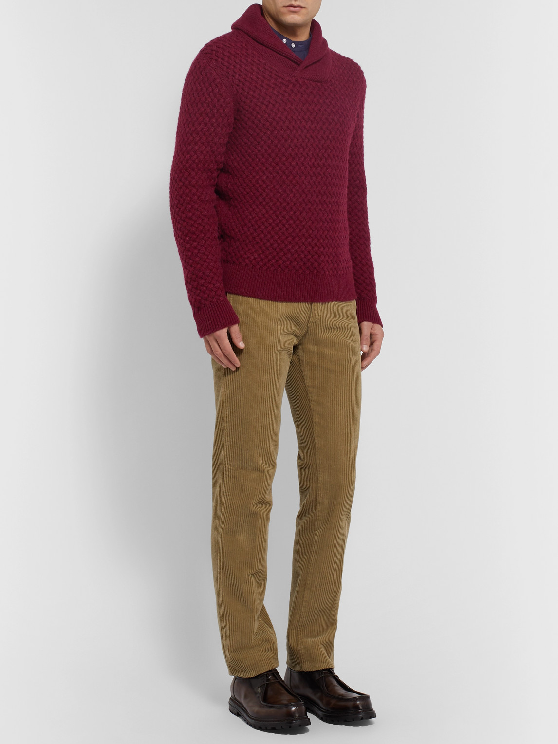Isaia Knits SLIM-FIT SHAWL-COLLAR CABLE-KNIT CASHMERE SWEATER