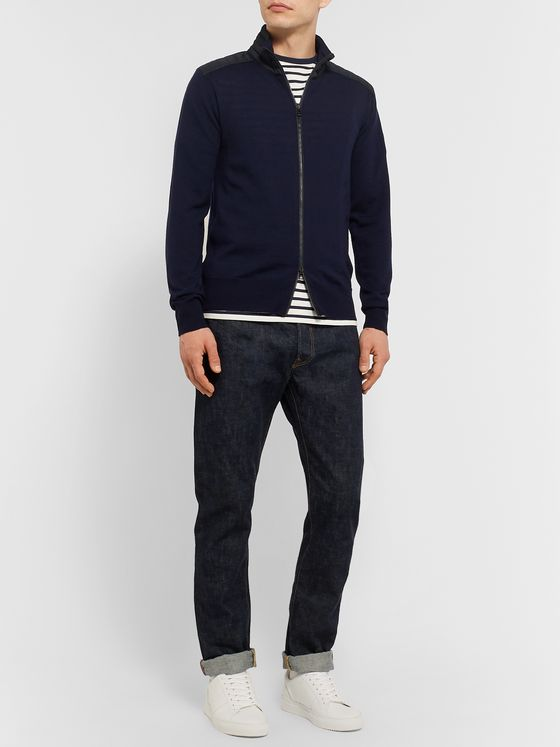 Belstaff Kelby Slim-Fit Quilted Shell-Trimmed Wool Zip-Up Sweater