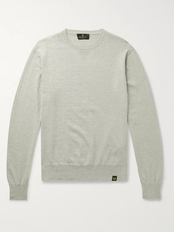 Belstaff Castle Mélange Cotton and Cashmere-Blend Sweater