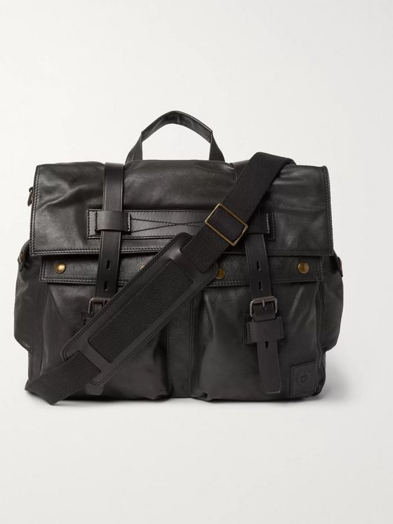 Belstaff Waxed-Leather Messenger Bag