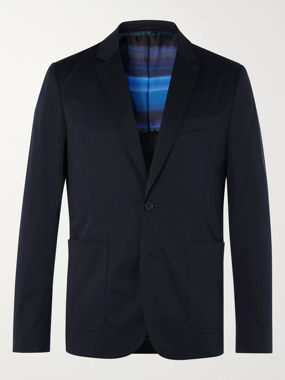 PS Paul Smith Navy Slim-Fit Cotton-Blend Suit Jacket