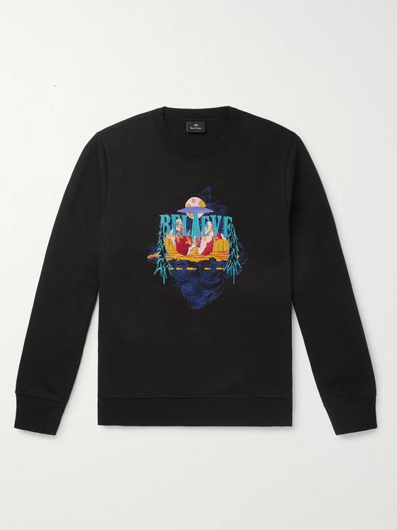 PS Paul Smith Embroidered Loopback Organic Cotton-Jersey Sweatshirt