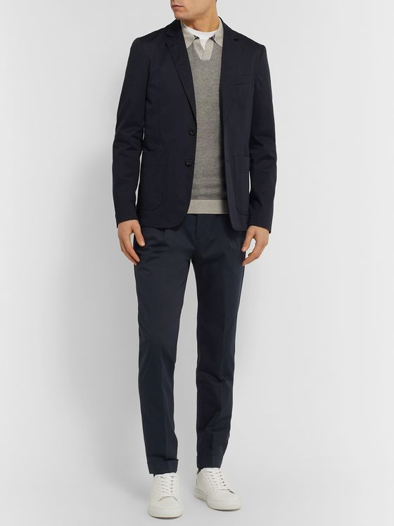 PS Paul Smith Navy Slim-Fit Cotton-Blend Suit Trousers