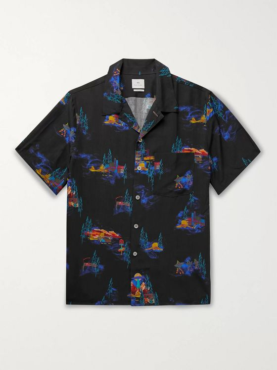PS Paul Smith Camp-Collar Printed Lyocell Shirt