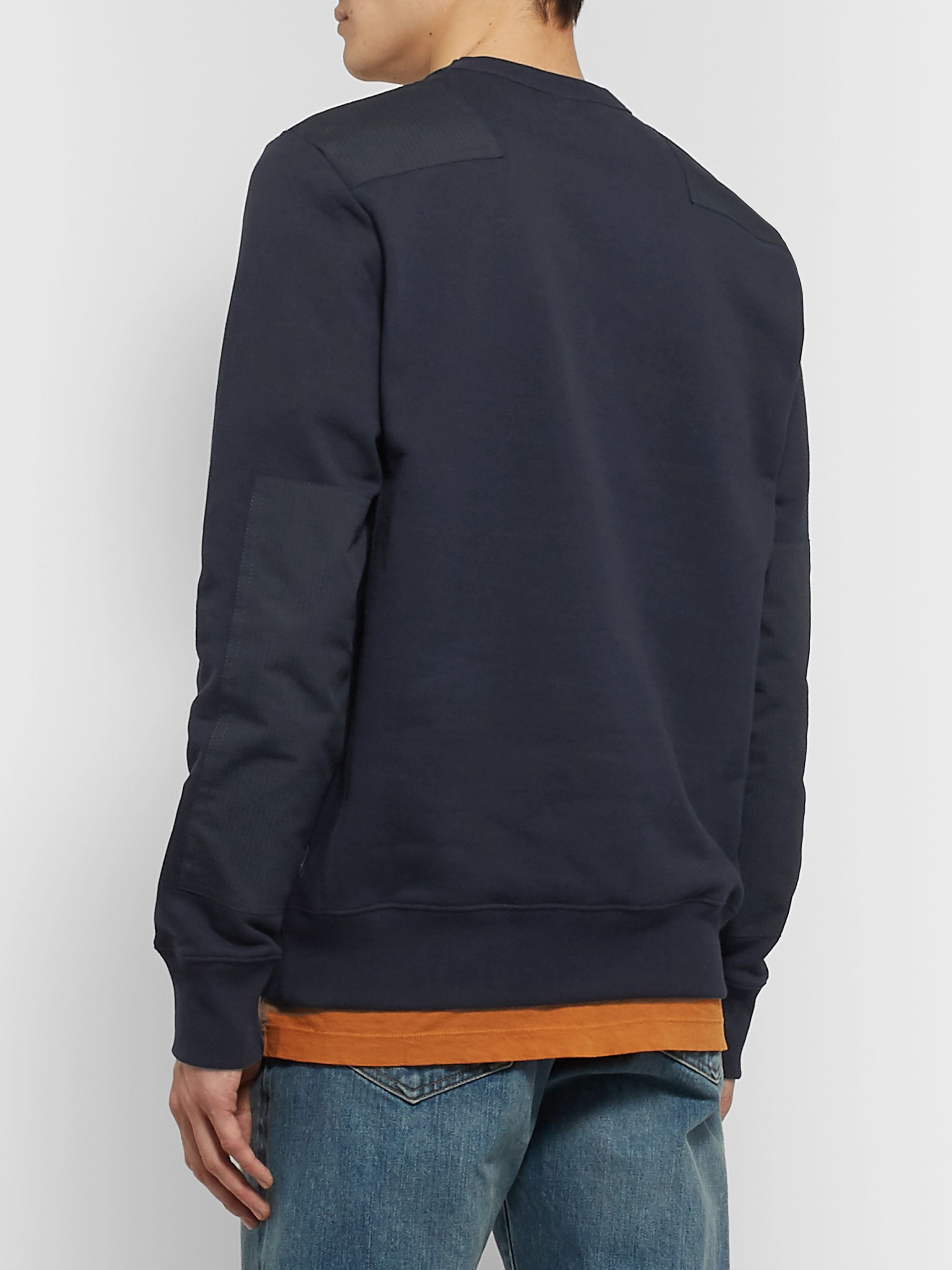 PS Paul Smith Panelled Fleece-Back Cotton-Jersey Sweater