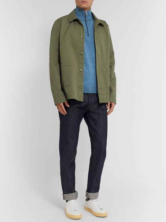 PS Paul Smith Mélange Merino Wool Half-Zip Sweater