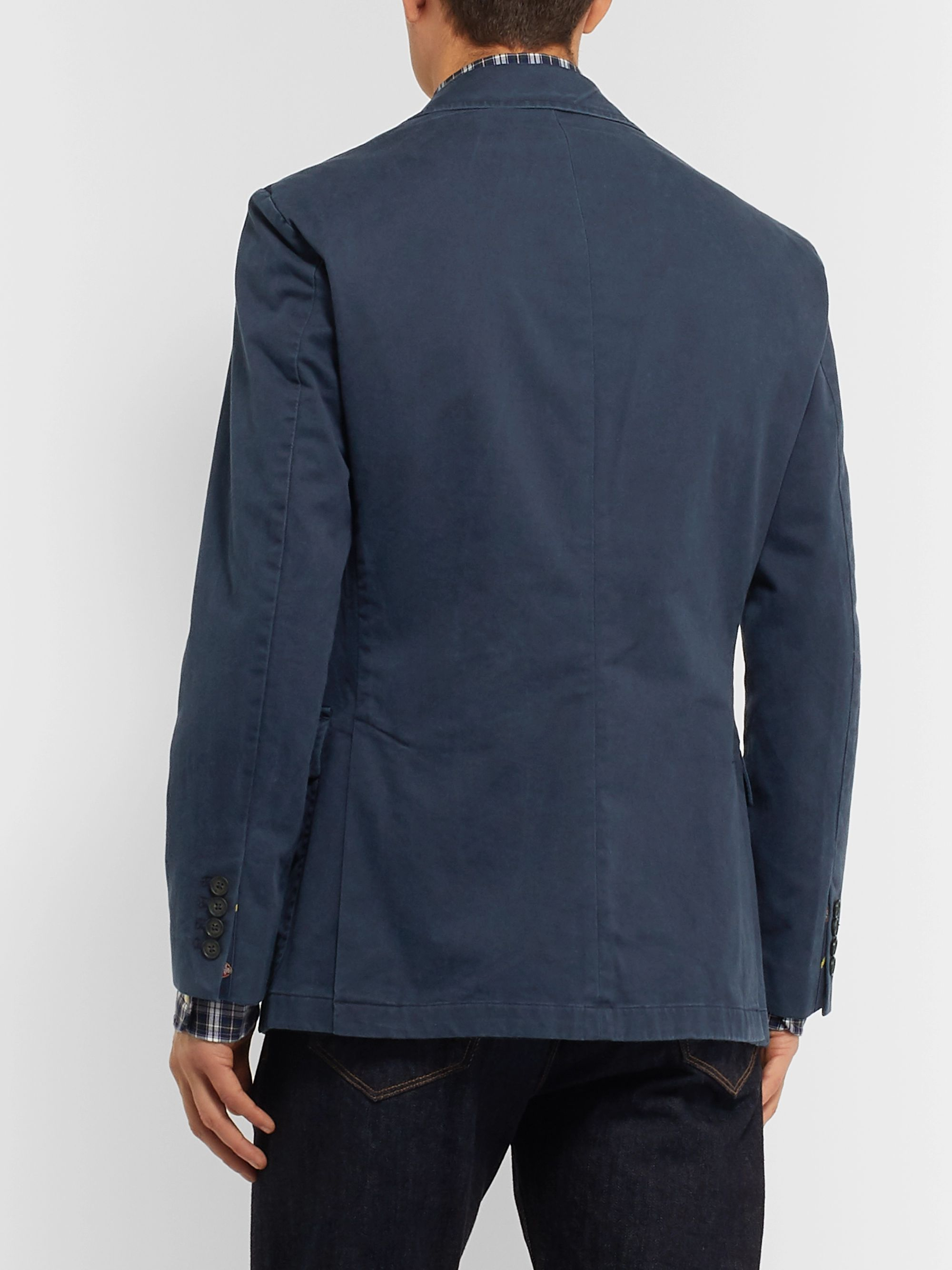 Polo Ralph Lauren Navy Slim-Fit Unstructured Brushed Cotton-Blend Twill Blazer