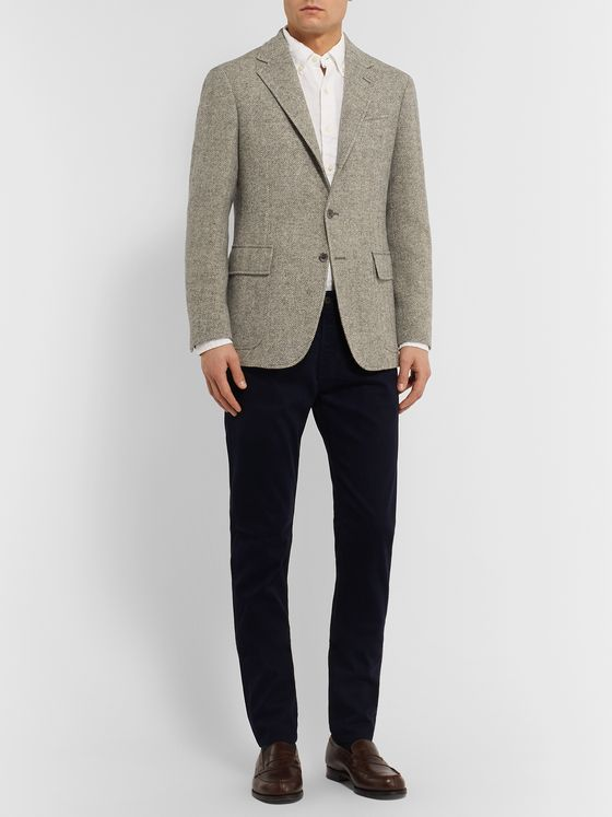 Polo Ralph Lauren Grey Herringbone Wool Blazer