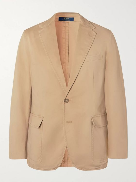 Polo Ralph Lauren Tan Unstructured Garment-Dyed Stretch-Cotton Twill Blazer