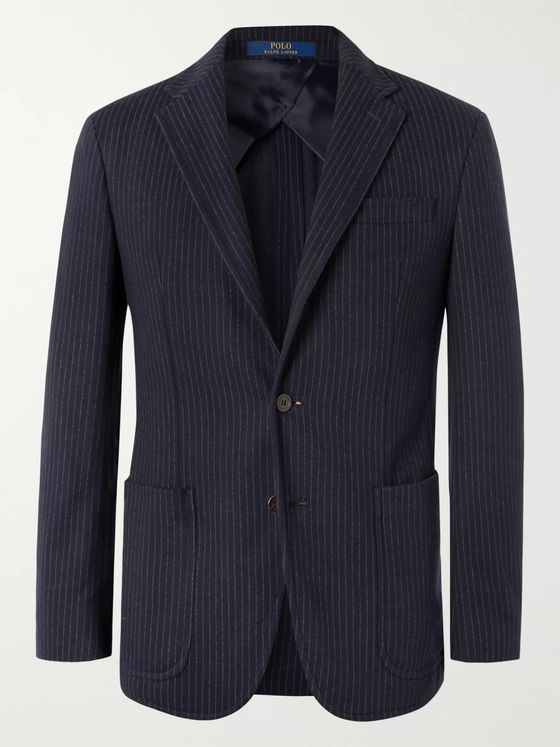 Polo Ralph Lauren Navy Slim-Fit Unstructured Pinstriped Jersey Blazer