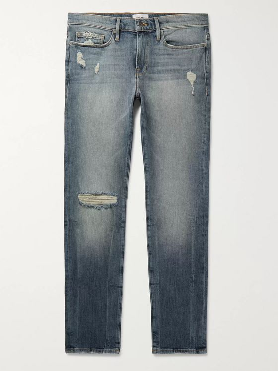 FRAME L'Homme Skinny-Fit Distressed Denim Jeans
