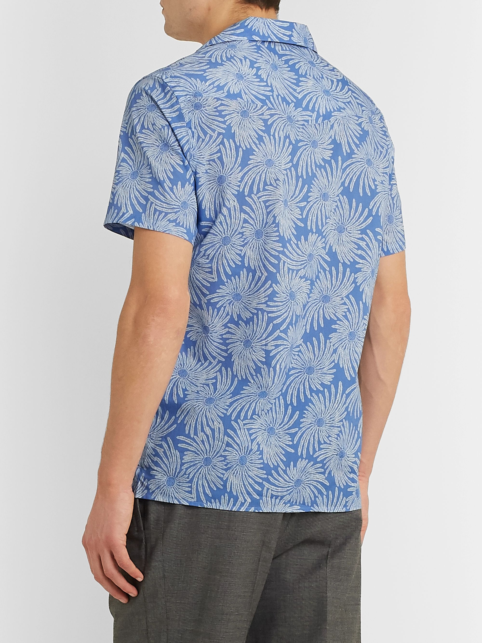 Officine Generale Dario Camp-Collar Printed Cotton Shirt