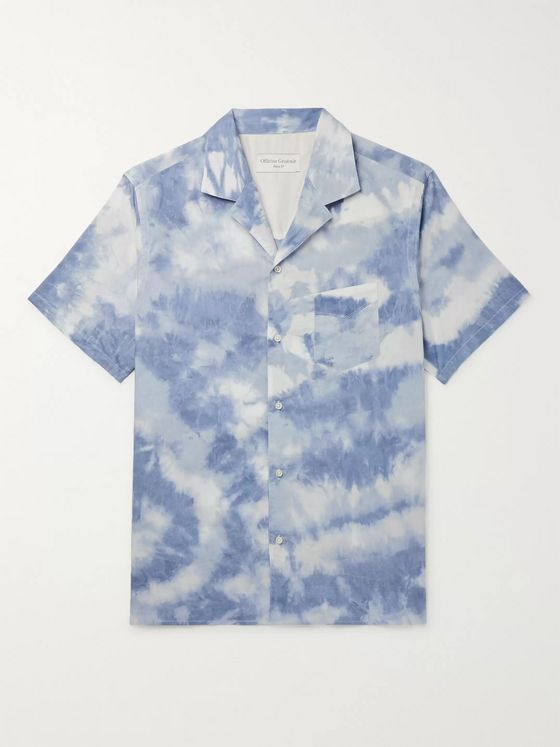 Officine Generale Dario Slim-Fit Camp-Collar Tie-Dyed Cotton Shirt