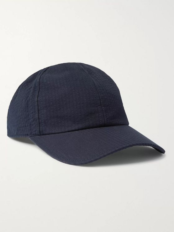 Officine Generale Cotton-Seersucker Baseball Cap
