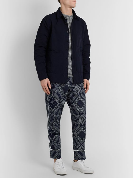 Officine Generale Lucio Wide-Leg Belted Bandana-Print Cotton Trousers