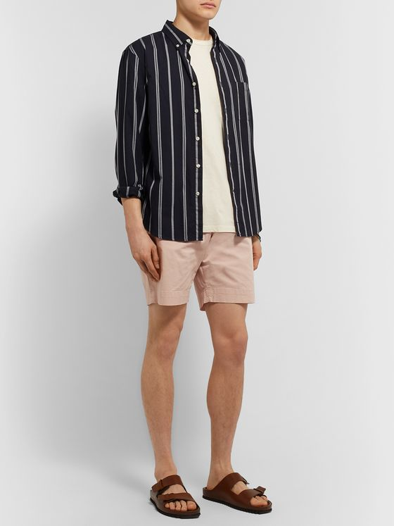 Officine Generale Phil Garment-Dyed Stretch-Cotton Drawstring Shorts