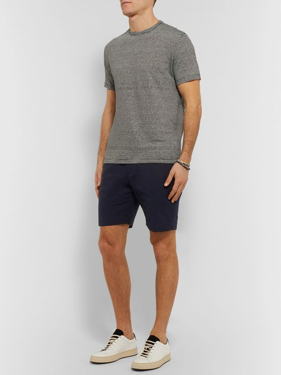 Officine Generale Phil Slim-Fit Cotton-Seersucker Drawstring Shorts
